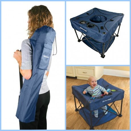 Height adjustable with protective foot mat and carry bag. For use indoors and out. For ages 4 months and up; up to 26 lbs. or until baby starts walking. & babygifts KidCo Go-Pod Portable Activity Center from One Step ...