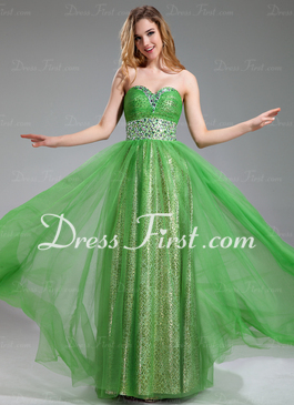 Sweetheart floor length tulle prom dress