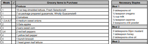 eMeals sample grocery list