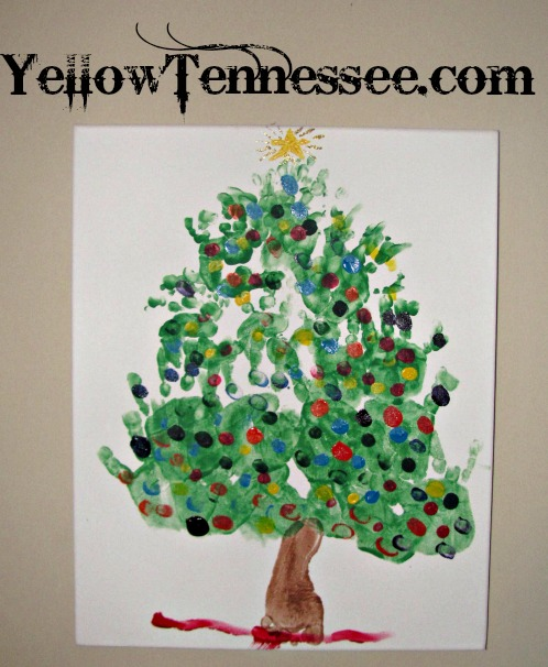 Hand and Footprint Christmas Tree craft