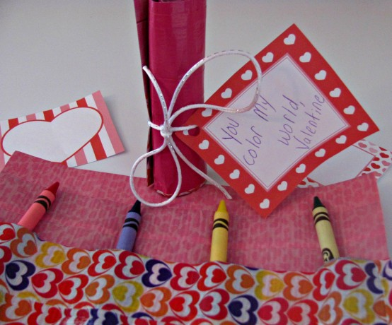 DIY Duct Tape Crayon Roll Valentine Craft