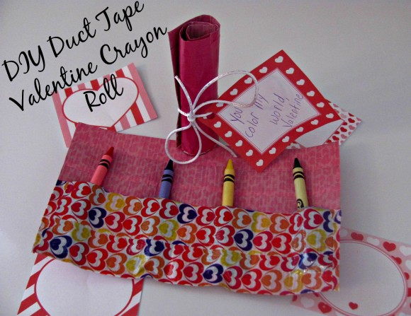 DIY Duct Tape Valentine Crayon Roll