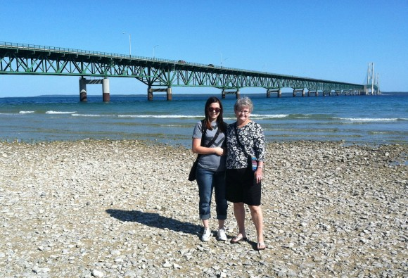 My mom and I at the Mackinaw Bridge!