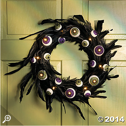 Halloween eyeball feather wreath