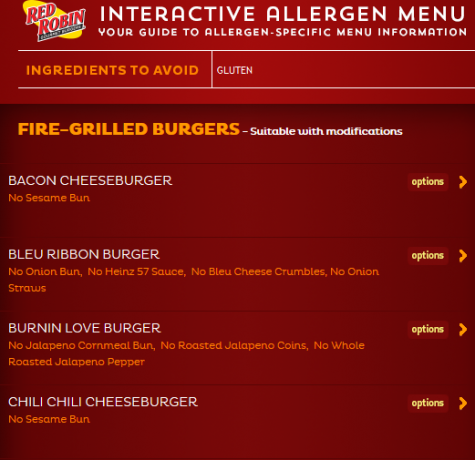 Allergy Awareness Menu